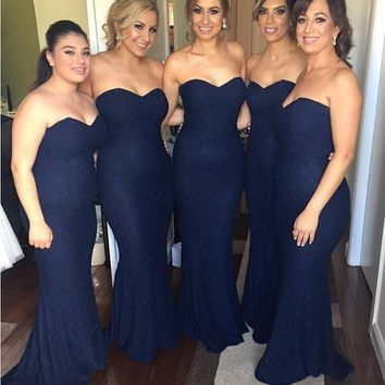 Custom Made Dark Navy Blue Lace Bridesmaid Dresses 2016 Plus Size Mermaid Adult Brides Maid Wedding Party Gowns