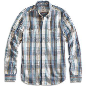Lucky Brand Marina Workwear Shirt Mens - Blue Multi/Yellow