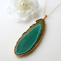 Long Emerald Green Agate  Pendant, Teal Green Raw Agate Slice, Agate Druzy, 14k Gold Filled Necklace, 22k Gold Plating, Statement Necklace