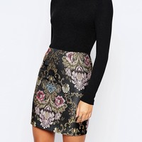 Missguided 2 In 1 Dress With Floral Jacquard Skirt