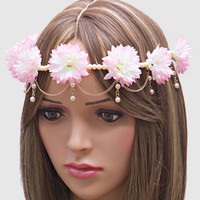 Elegant Pearl Floral Headchain Pink