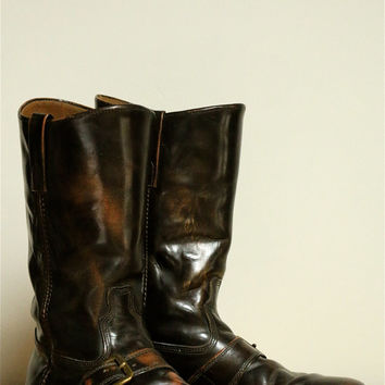 RARE, Vintage, Dingo Acme Harness Motorcycle Boots, Mens, Size 10, Brown, Gorgeous, 1967