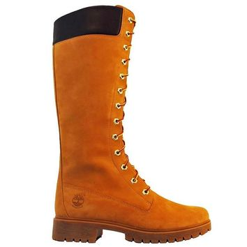 """Timberland Earthkeepers Premium 14"""" Zip - Wheat Leather Lace-Up Knee-High Boot"""