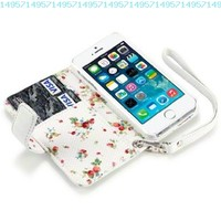 iPhone 5/5S Premium Faux Leather Wallet Case with Floral Interior (White):Amazon:Cell Phones & Accessories