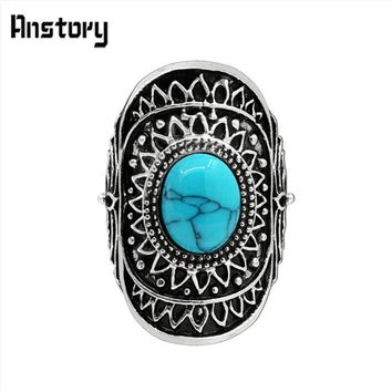 Sunflower White Oval Stone Rings For Women Vintage Antique Silver Plated Fashion Jewelry TR471