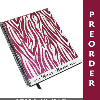 Large Academic Planner PREORDER Hot Pink Zebra Personalized Student Agenda