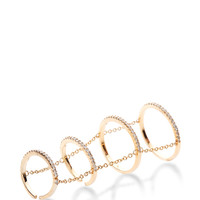 4 Tier Gold Pave Slice Ring with Chain