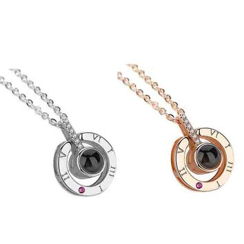 100 Languages I Love You Rose gold Silver Shaking Sounds with Projection Clavicle Alloy Girls Pendant Necklace Dropshipping