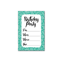 Printable Party Set Invitation - Birthday Party Squiggles - Green / Black / Blue