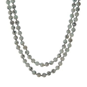 Gray Natural Stone Beaded Wrap Necklace