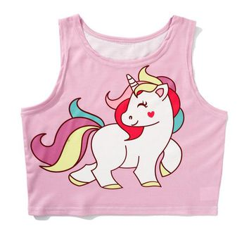 Believe Miracles Rainbow Unicorn Crop Top