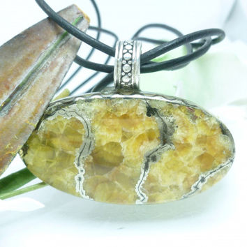 Oval Simbercite Pyrite Gemstone Cabochon Sterling Pendant Leather Cord