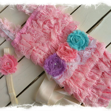 Pink Petti Romper with Shabby Chic Headband and Sash-Girls 1st Birthday Outfit-Lace romper with M2M Headband