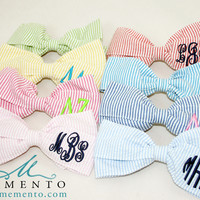 Monogrammed Seersucker Hair Bow