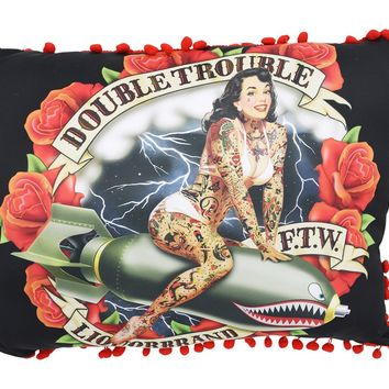 Liquorbrand Double Trouble Pin-Up Girl Rockabilly Punk Couch Throw Pillow