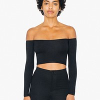 Cotton Spandex Off-Shoulder Long Sleeve Top | American Apparel