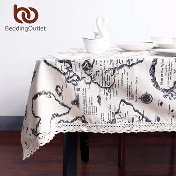 BeddingOutlet World Map Tablecloth European Functional Table Cloth for Picnic Party Linen Cotton Tablecloths Rectangular 9 Sizes