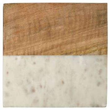Thirstystone White Marble With Acacia Square Trivet : Target