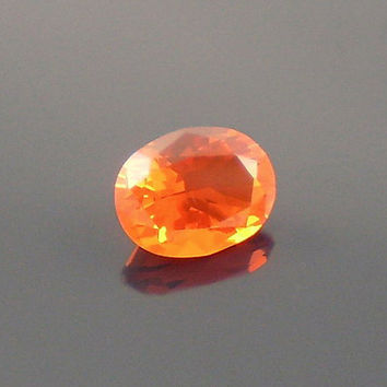 Fire Opal: 0.97ct Red Orange Oval Shape Gemstone, Loose Natural Hand Made Mexican Faceted Precious Gem, OOAK Cut Crystal Jewelry Supply O11