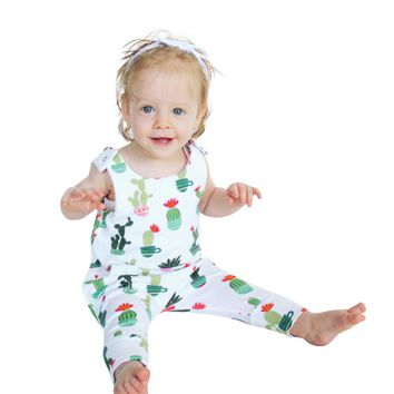 MUQGEW Sleeveless Bodysuit Baby Cactus Print Jumpsuit Outfits Clothes Funny Baby Clothes Outfits Sunsuit Macacao Q06