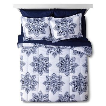 Indigo Medallion Dorm in a Bag with Towel Set: Target