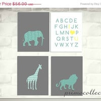 Elephant Nursery Artwork Prints / 8x10 inch / 4 piece set / teal and gray / safari animals / ABC print / for baby boy room wall decor