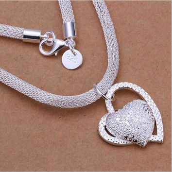 Free Shipping floating charms silver 925 jewelry women necklace chain Inlaid  Heart Pendant collier femme charm SMTN270