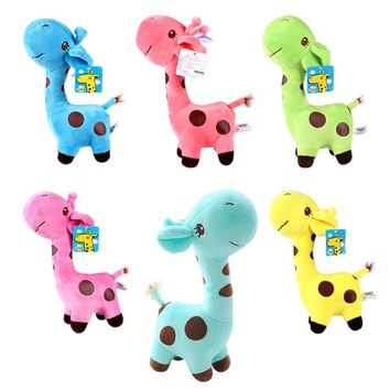 """1pcs7""""18cm so Cute Baby Toys Rainbow Giraffe Plush Toys Dolls For Kids Brinquedos kawaii gift for your friends on 7 Colors"""