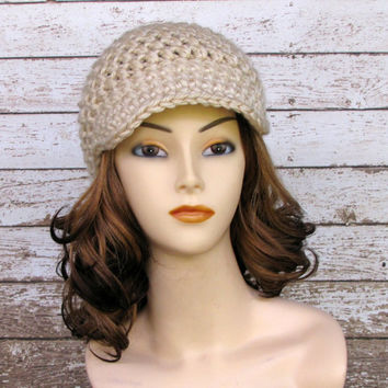 Tan Crocheted Ladies Newsboy Hat, Off White Visor Beanie, Women's Winter Hat