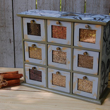 Spice Cabinet, Shabby Chic, Sage, Olive, Green, Wood, Decoupage, Upcycled, Spice Rack, Apothecary Cabinet