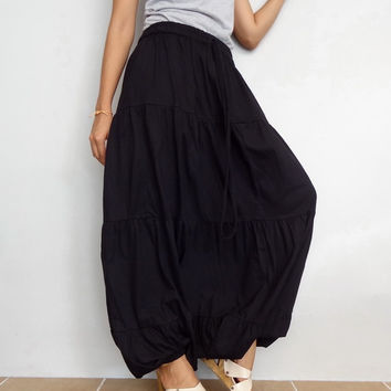 Women Ruffle Long Pant, Casual Gypsy,Yoga, Bohemian ,Black Cotton Blend(Pant-R5).