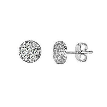 Fine 0.30ct Diamond Stud Earrings 14k White Gold Vintage Antique Style