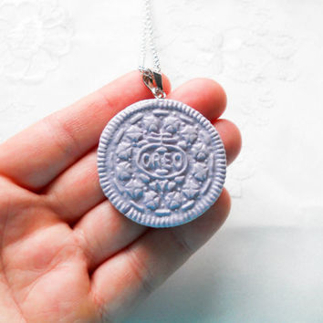 Purple Oreo Cookie Necklace, Cookie Necklace, Oreo Necklace, Kawaii, Sweet Lolita, Cute, Food Necklace, Polymer Clay, Pastel, Food Jewelry