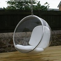 Eero Aarnio Bubble Chair With White Seat Cushion.