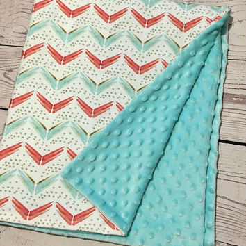 Personalized Baby Blanket,Organic Cotton,Baby Gift,Baby Bedding,Handmade Blanket,Chevron Teal,Coral,Gold,Crib Bedding,Gender Neutral Blanket