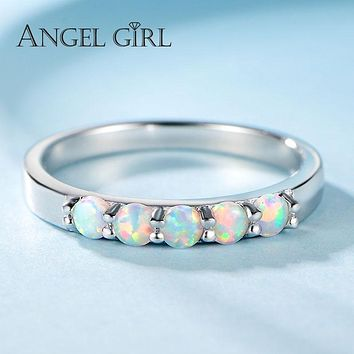 Angel Girl Round Opal Ring Female 925 Sterling Silver Love Ring Brand Jewelry Women Cute Christmas Gift Promotion S-R0051-WB-O