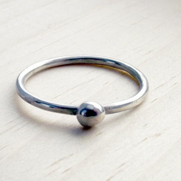 Sterling Silver Organic Nugget Thin Stacking Modern Minimalistic Simple Womens Ring Band- Oh My Metals