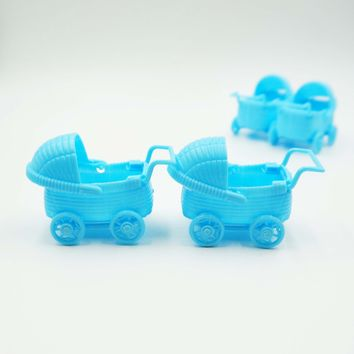 12 Baby Blue Stroller Wagon Party Favors Baby Shower Decoration Vintage Style