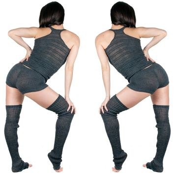 Thigh High Leg Warmers, Racer Back Tank Top, Low Rise Shorts 3 Piece Dancewear Set