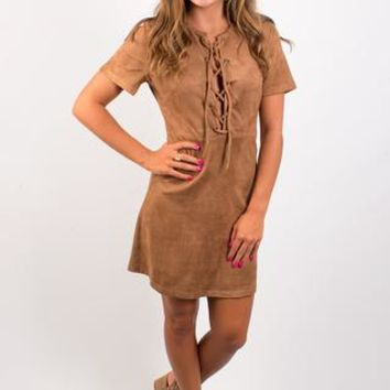 Tied to Suede Dress - Mocha