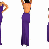 Sexy Women Strap Backless Jersey Minimalist Slip Beach Casual Long Maxi Dress C
