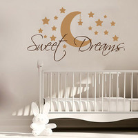 Sweet Dreams Wall Decal Quote Moon Stars Vinyl Decals Art Mural Good Night Sticker Bedroom Interior Design Kids Bedroom Nursery Decor KI107