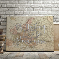 """World Map Poster Travel Quote Graduation Gift World Map Poster """"Oh Darling"""" Inspirational Quote Vintage Map World Map Print INSTANT DOWNLOAD"""