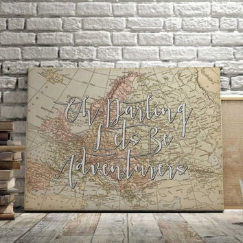 "World Map Poster Travel Quote Graduation Gift World Map Poster ""Oh Darling"" Inspirational Quote Vintage Map World Map Print INSTANT DOWNLOAD"