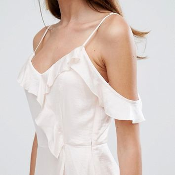 Vero Moda Frill Cold Shoulder Maxi Dress at asos.com