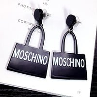 MOSCHINO Classic Catwalk Fashion Women Simple Letter Earrings Accessories Jewelry Black