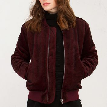 J.O.A. Short Fur Bomber Jacket in Burgundy
