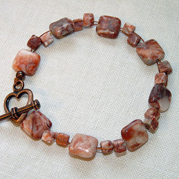 Bracelet With Red Jasper Puffy Squares, heart shaped antique bronze toggle clasp,Spring gift, Ooak, hand made
