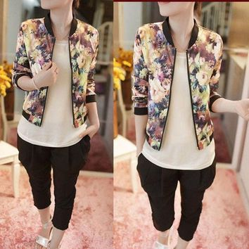 CREYUG3 Women Stand Collar Long Sleeve Zipper Floral Printed Bomber Jacket = 1929868612