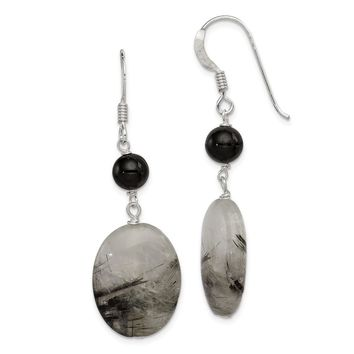 925 Sterling Silver Black Crystal and Tourmalinated Quartz Earrings